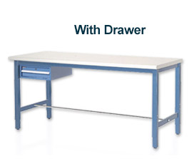 "60""L X 30""W Production Bench - Plastic Square Edge-Blue"