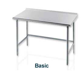 "Work Table, 30""D Top With Turned Up Edge At Rear, 84""W, With Galvanized Legs, Side & Rear Crossrails"